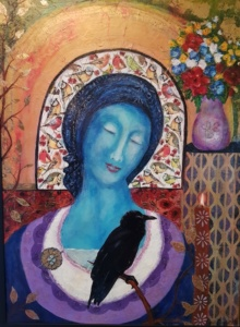 Homage to Bird Woman is a mixed media artwork, measuring 71cm x 99cm. Framed, 4,000kr.